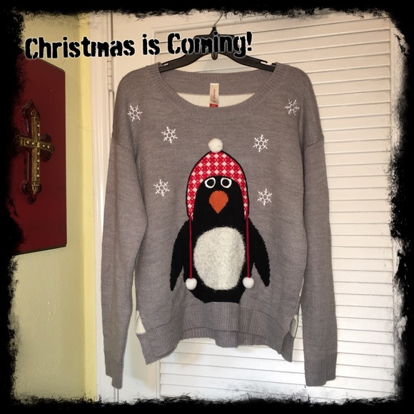 adorable penguin christmas sweater